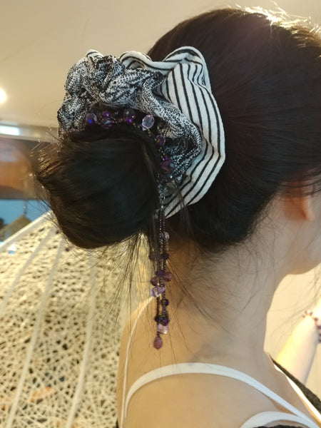 3 Colors Beads & Crystals Ponytail
