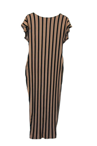 Beige and Black Stripes Long Dress