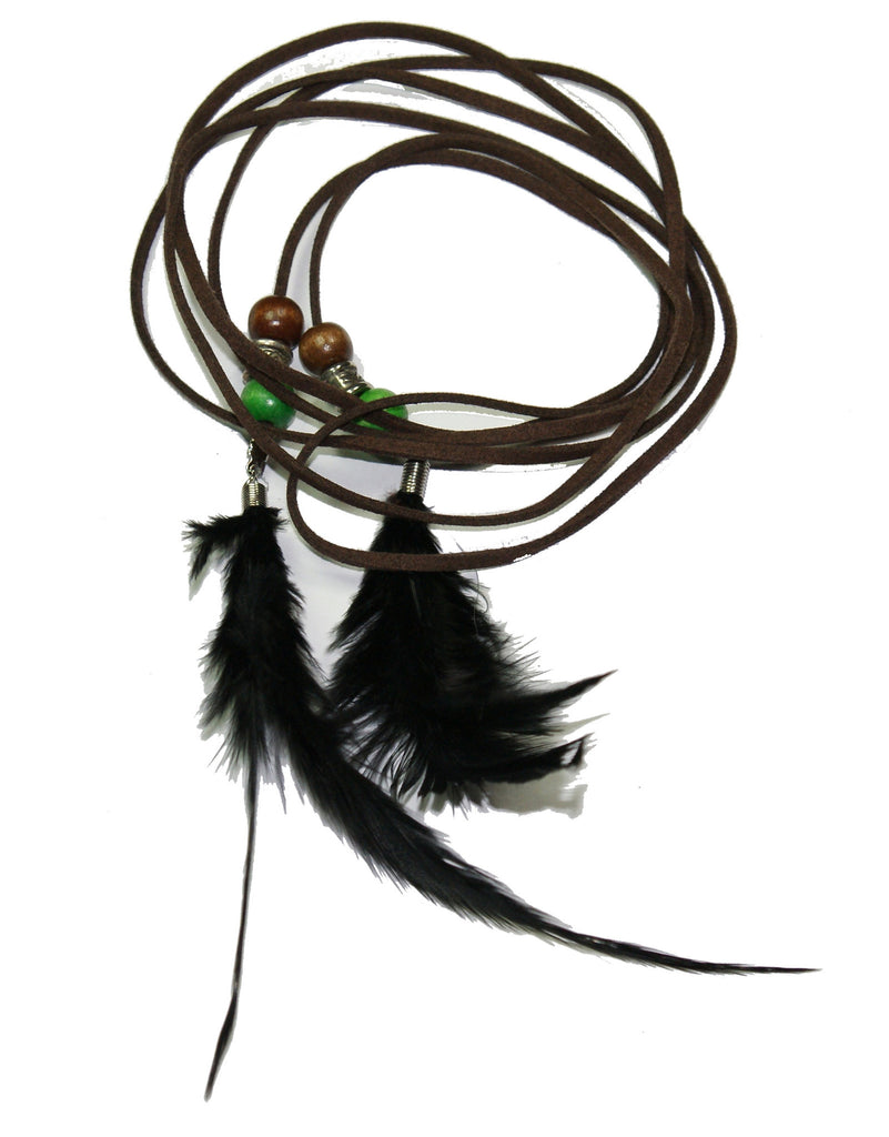 Black & White Feather in Long Leather Cord