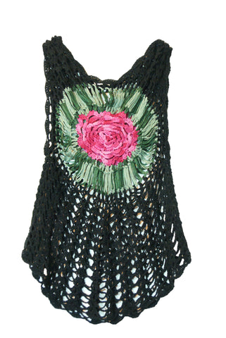 Black Knit Shirt with Flower