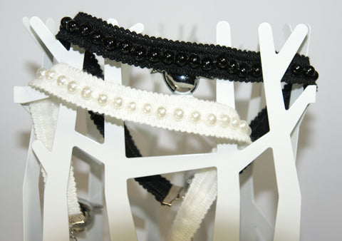 Black & White Pearls in Cotton  Choker