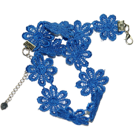 Choker in Electric Blue Flowers by Cool ThingzZ