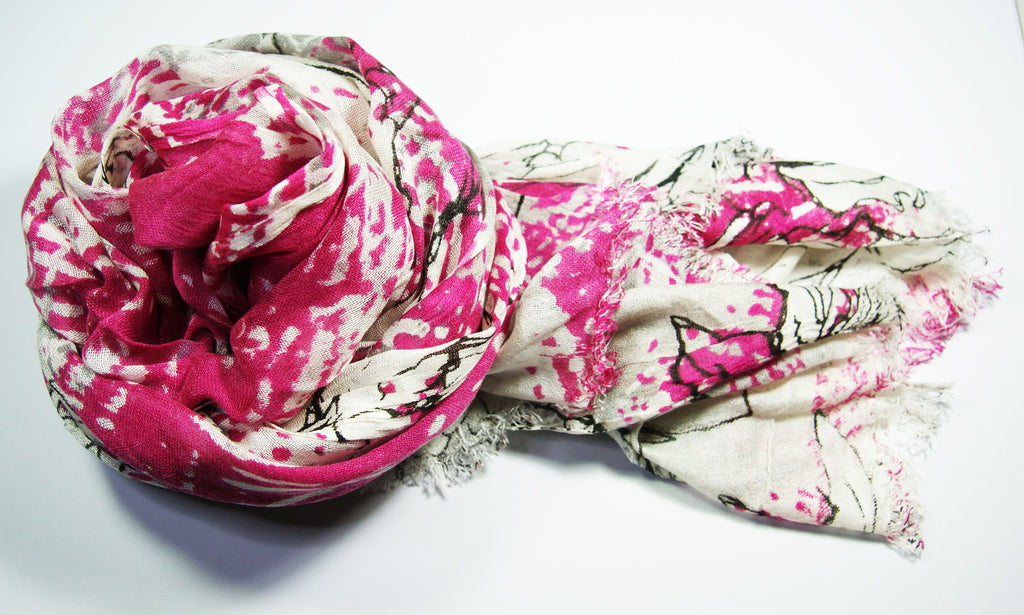 Cool Pink Long Cotton Scarf