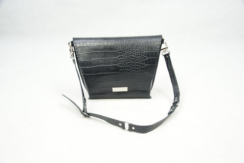 Black Crocodile Cow Leather