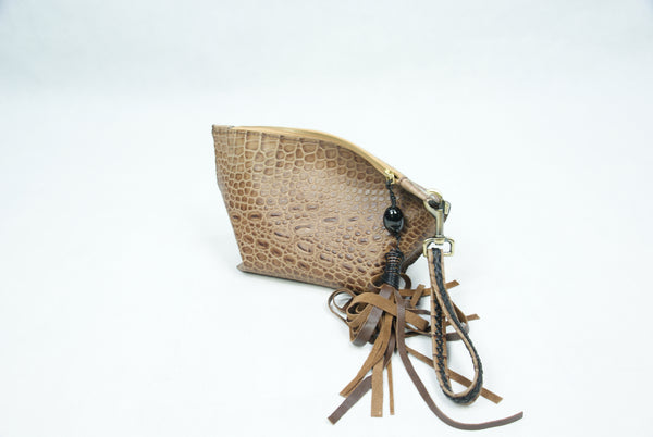 Brown Crocodile Cow Leather Pouch