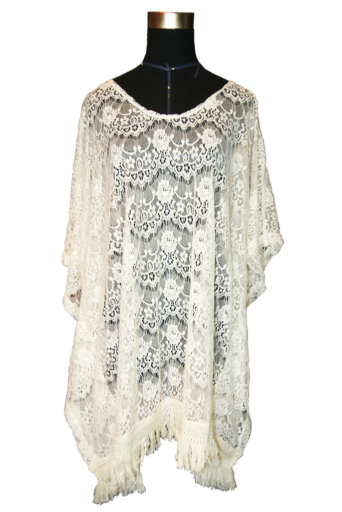 White Large knit lace shirt