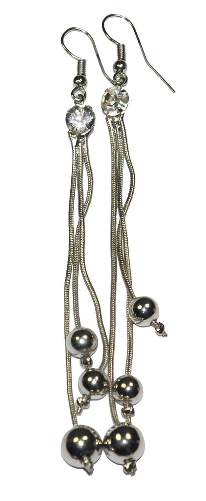 White Metal Long Earrings