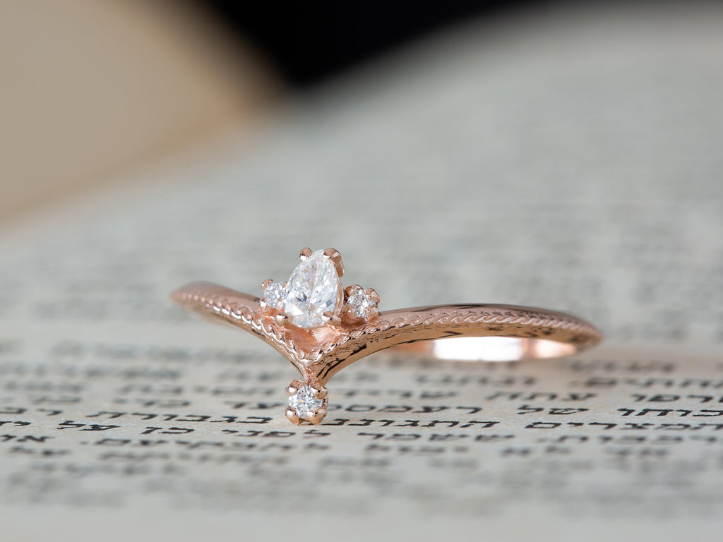 Pear Diamond Vintage Engagement Ring
