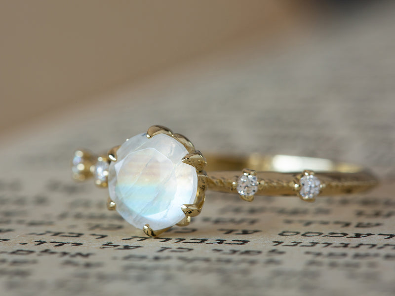 Moonstone and Diamonds Filigree Engagement Ring