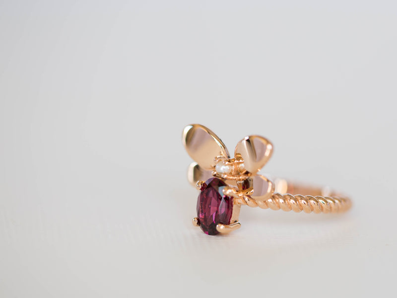 Garnet and Pearl Bee Ring