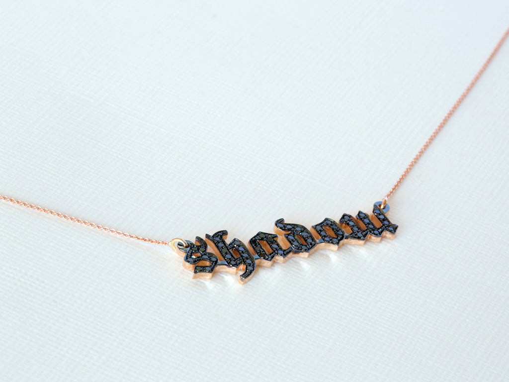 Gothic Black Diamond Name Necklace