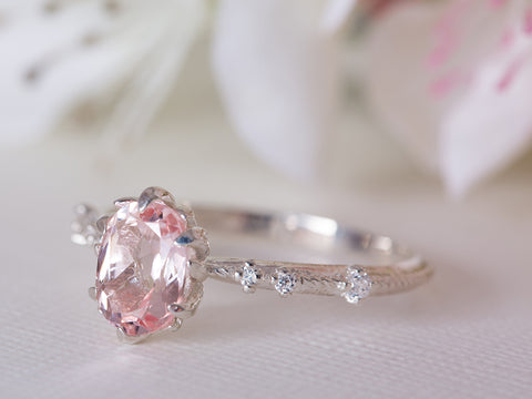 Morganite and Diamond Vintage Engagement Ring