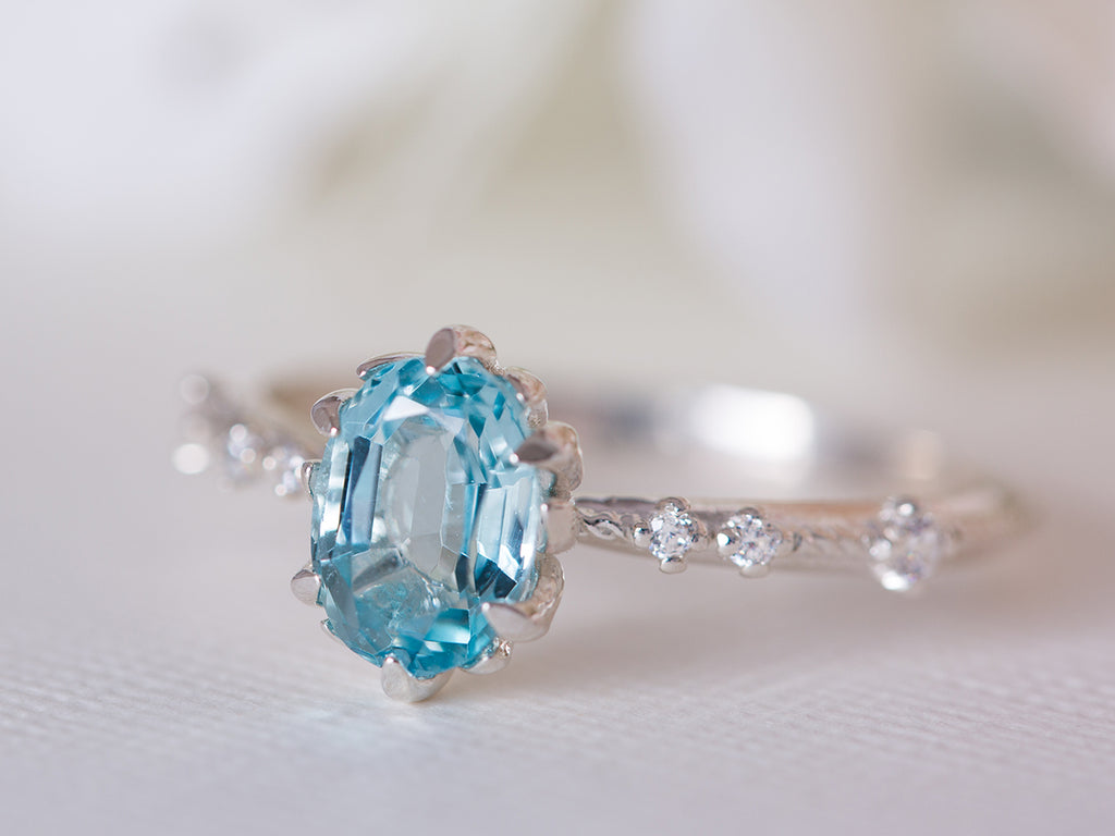 Aquamarine and Diamond Vintage Engagement Ring