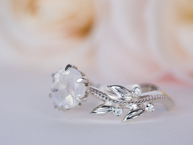 Moonstone and Diamond Leaf Engagement Ring