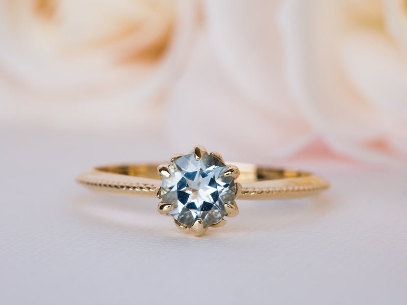 Aquamarine Vintage Engagement Ring