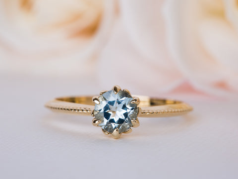 Aquamarine Floral Ring