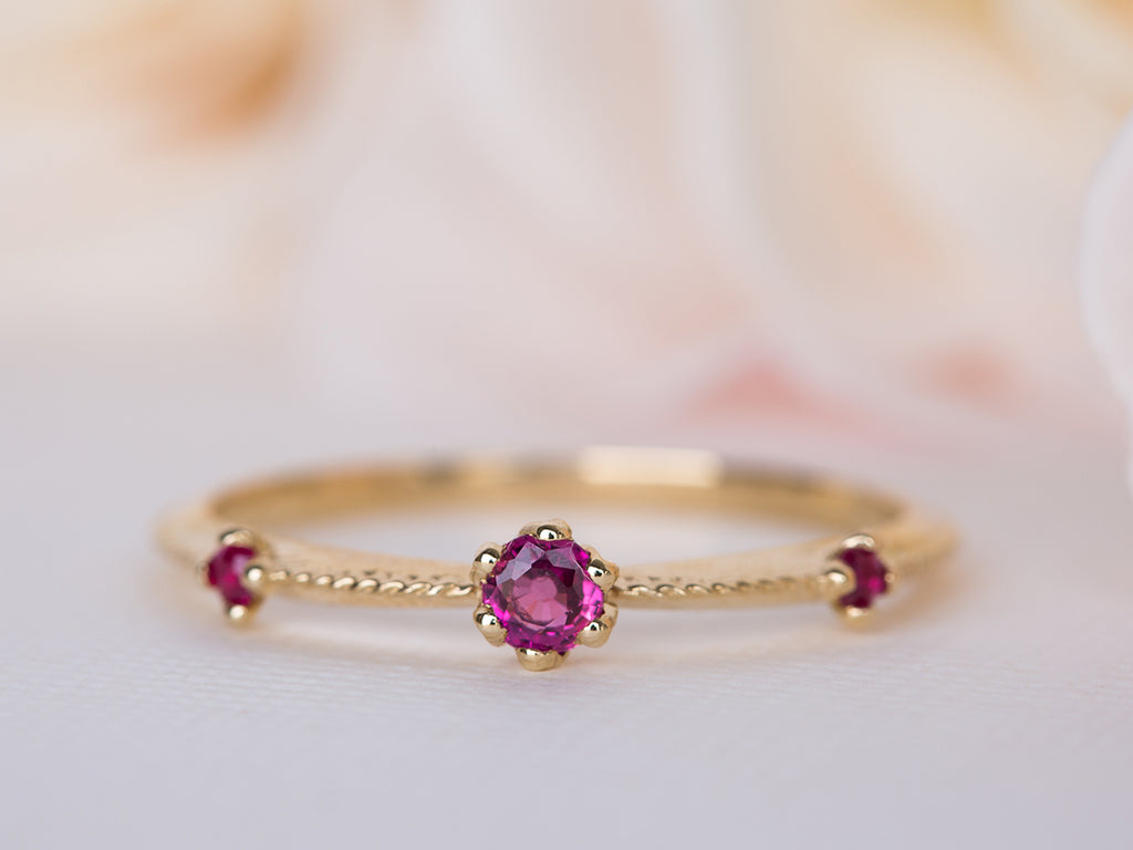 Ruby and Pink Sapphire Floral Ring