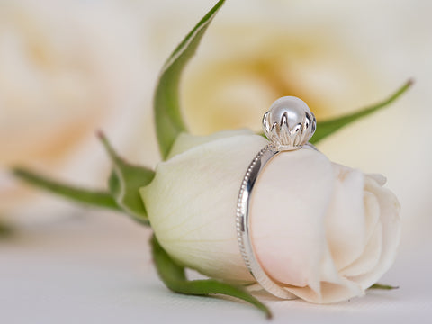 Pearl Floral Engagement Ring