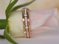 Crown Rings Set Diamond and Pink Sapphire