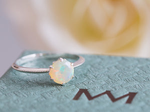 Opal Floral Engagement Ring