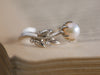 Pearl and Diamond Leaf Ring