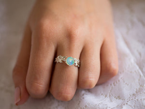Cabochon Opal and Diamond Engagement Ring