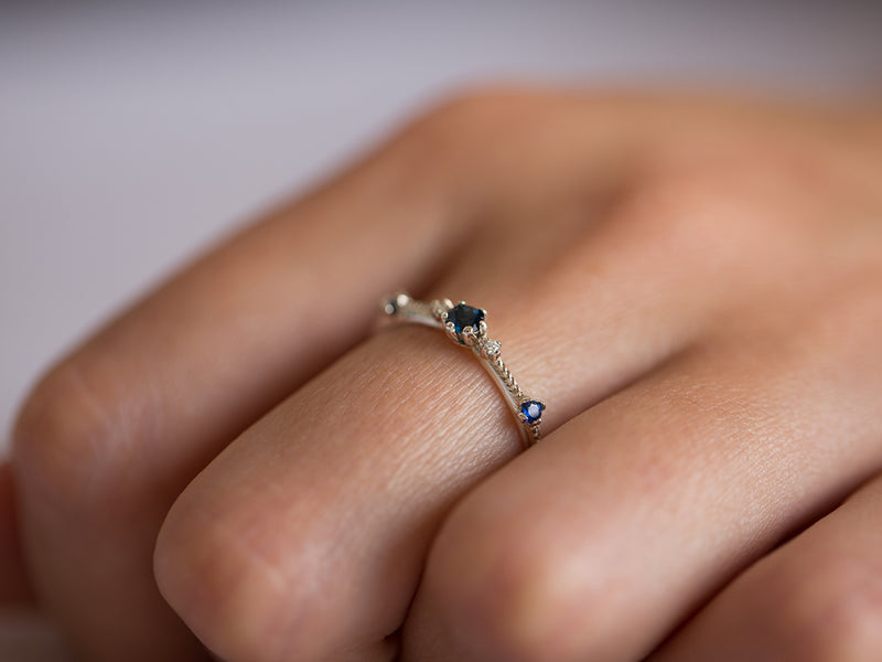 Blue Sapphire and Diamond Ring