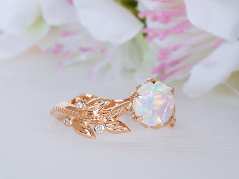 Fire Opal and Diamond Leaf Engagement Ring