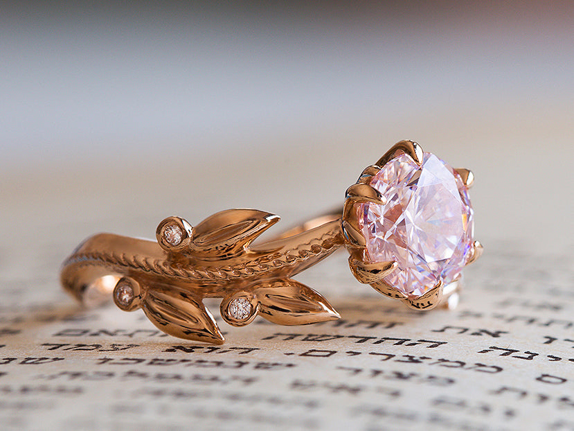 Morganite and Diamond Floral Engagement Ring