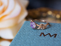 Amethyst and Diamond Leaf Engagement Ring