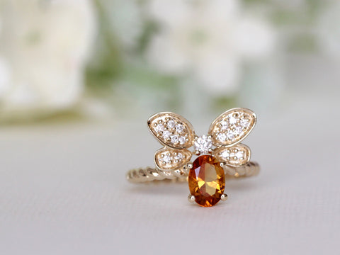 Citrine and Diamond Bee Ring