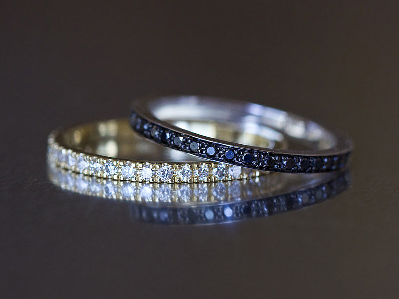 Black and White Eternity Rings Set