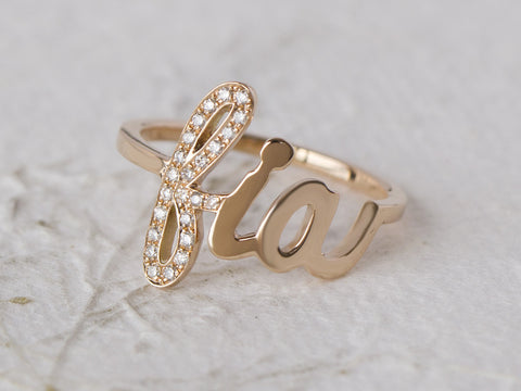 Diamond Initial Name Ring