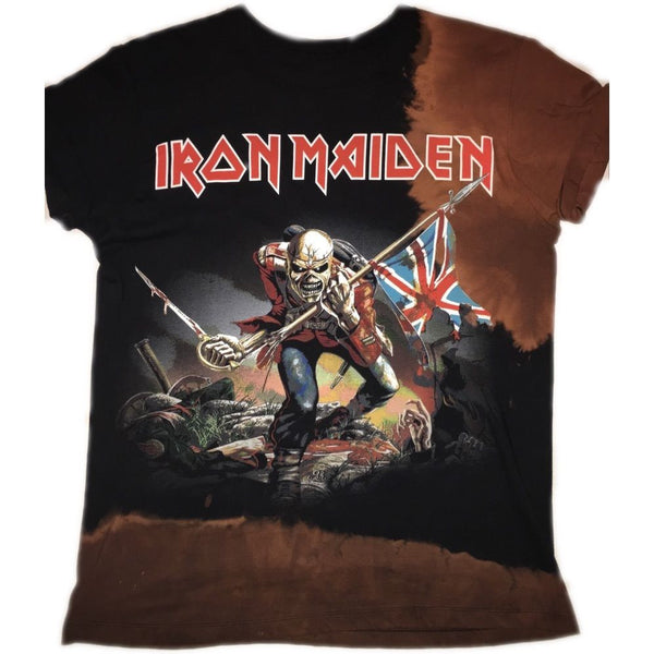 "Hand Bleached Iron Maiden ""Trooper"" Band Tee - Upcycled Streetwear"