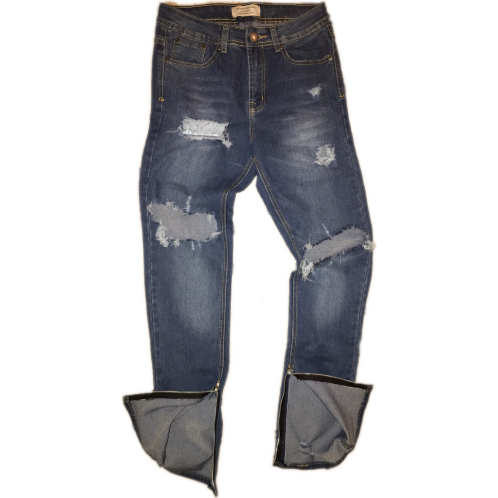 Hand Distressed Indigo Denim W/ Ankle Zippers - Upcycled Streetwear