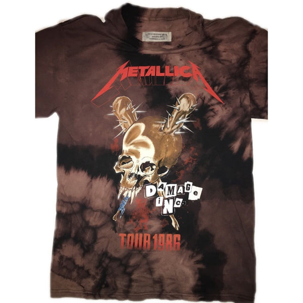 "Hand Bleached Metallica ""Damage Tour"" Band Tee - Upcycled Streetwear"