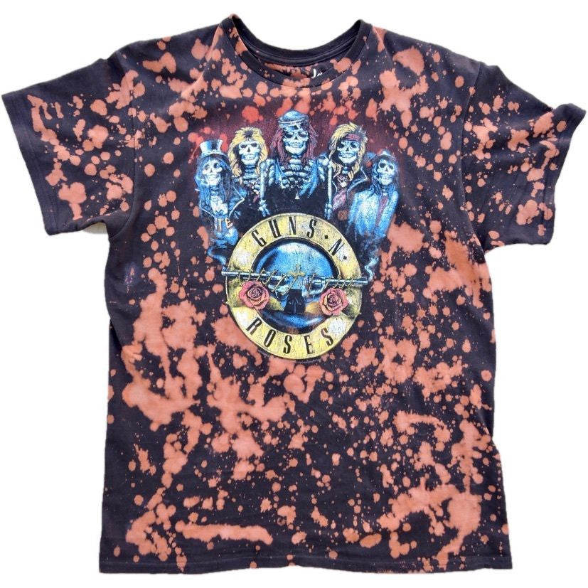"Splatter Bleached Guns""N""Roses Band Tee - Upcycled Streetwear"