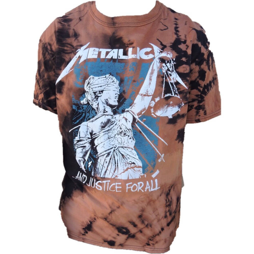 "Hand Bleached Metallica ""Justice for All"" Band Tee - Upcycled Streetwear"