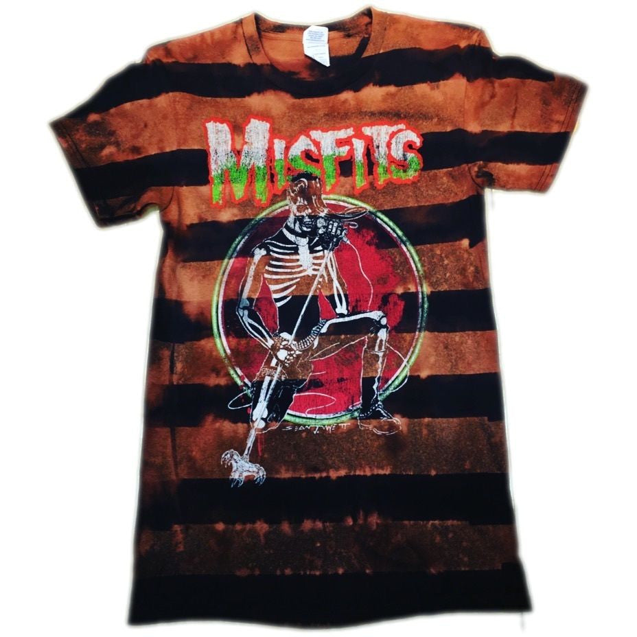 Striped Hand Bleached Misfits Band Tee - Upcycled Streetwear
