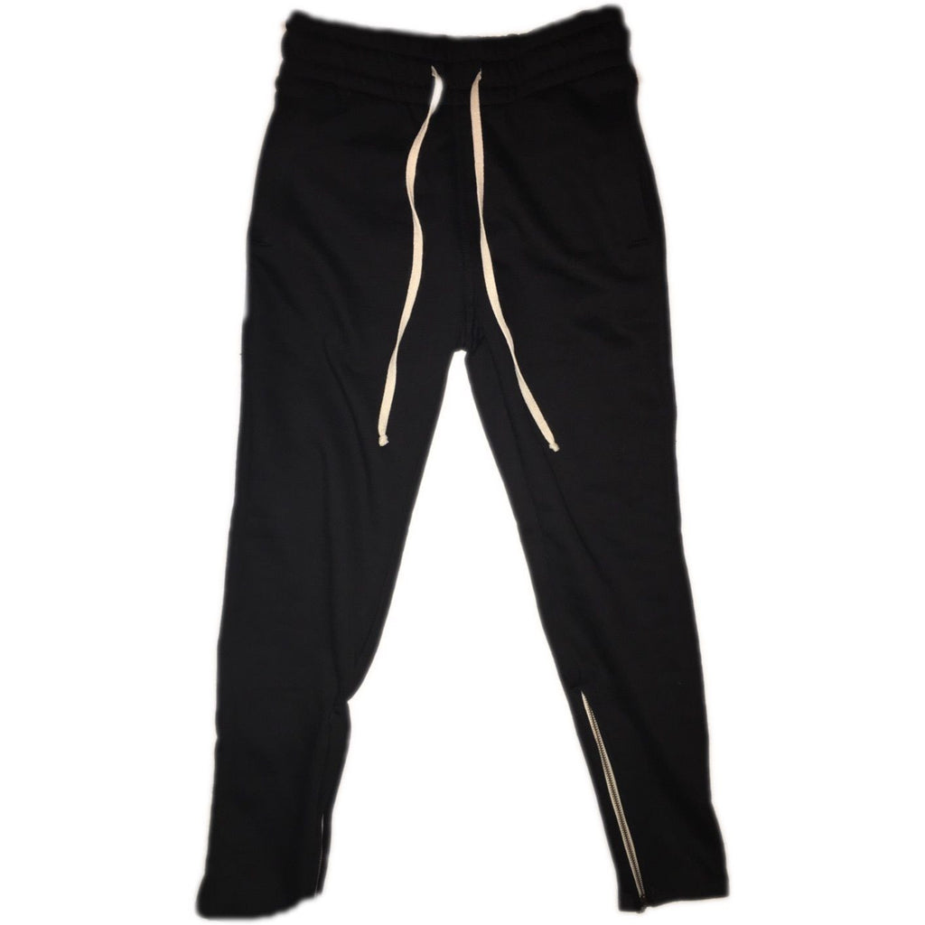 Black Tapered Sweatpants w/ Ankle Zippers - Upcycled Streetwear