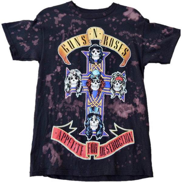 "Hand Bleached Guns N'Roses""Apetite For Distruction"" Band Tee - Upcycled Streetwear"