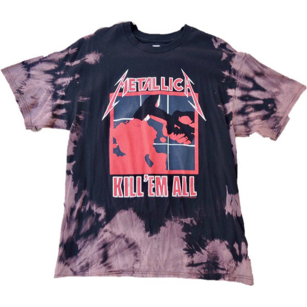 "Hand Bleached Metallica "" Kill Em All"" Band Tee - Upcycled Streetwear"