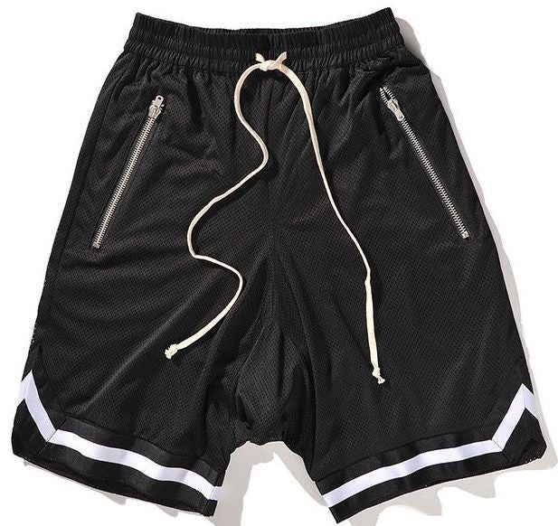 Black/White Basketball Shorts w/ Riri Zippers - Upcycled Streetwear