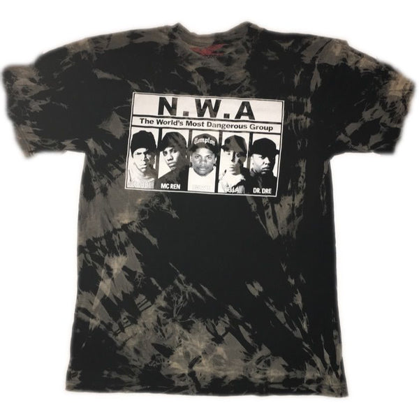 "Hand Bleached NWA ""Most Wanted"" Band Tee - Upcycled Streetwear"