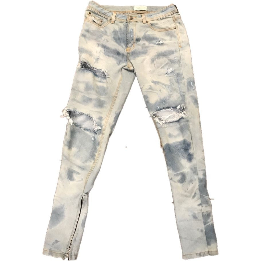 Hand Distressed and hand  Bleached Indigo Denim w/ Ankle Zippers - Upcycled Streetwear