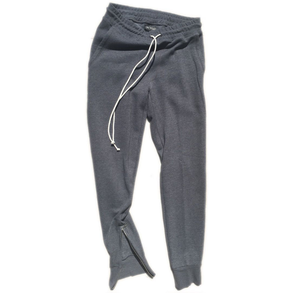 God Grey Tapered Sweatpants w/ Ankle Zippers - Upcycled Streetwear