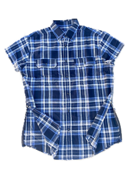 Blue/White Short Sleeve Flannel w/ Side Zippers