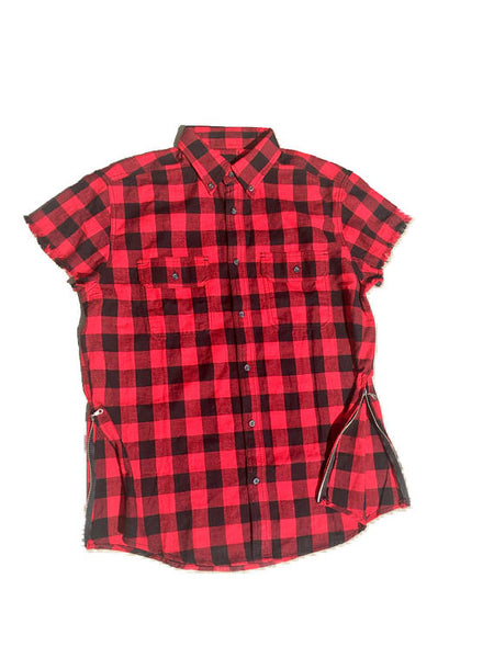 RED/BLK Short Sleeve Flannel W/ Side Zippers