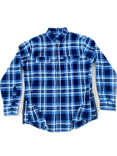 Blue/White Fear of God Inspired Flannel w/ Side Zippers