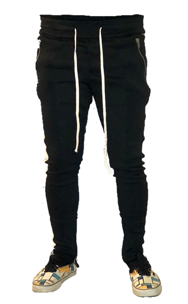Black/White Track Pants W/ Riri Zippers
